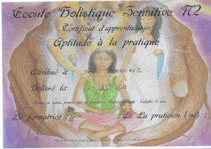 Diplôme Ecoute Holistique Sensitive Niv2 Denis Sanchez