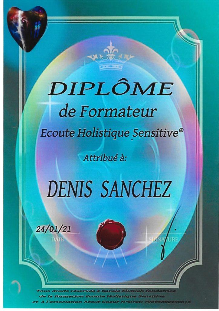 Diplôme formateur écoute holistique sensitive Denis Sanchez